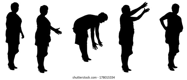 Vector silhouette of a old woman on a white background.