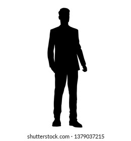 Vector silhouette of one man standing, business people, black color isolated on white background