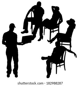 Vector silhouette of a people with a computer on white background.