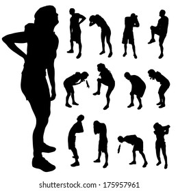 Vector silhouette of people with different pain.