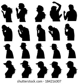 Vector silhouette of people in different situations.