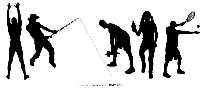 Vector silhouette of people in different sport.