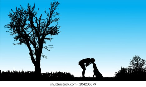 Vector Silhouette of people with dogs in nature.
