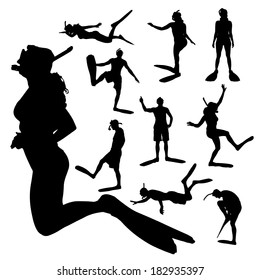 Vector silhouette of a people with flippers and a snorkel.
