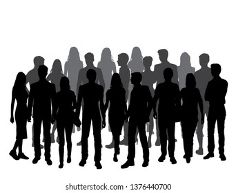 Vector silhouette people, group business men and women, crowd silhouettes, black and gray color, isolated on white background