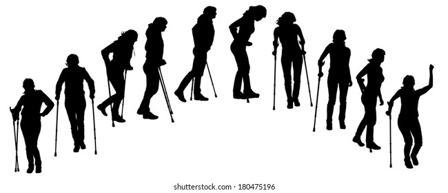 Vector silhouette of people on crutches on white background.