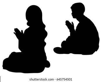 Vector silhouette of people praying. Asian man and woman hand praying, Hands folded in prayer concept for faith, Hands folded in prayer concept for faith, spirituality and religion.