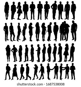vector silhouette people set