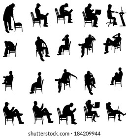 Vector silhouette of people sitting on a white background.