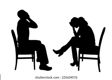 Vector silhouette of people sitting on a chair.
