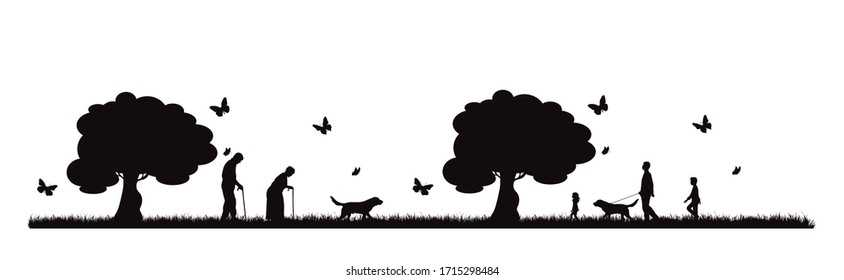 Vector silhouette of people walking with dog in park on white background. Symbol of nature and pet.