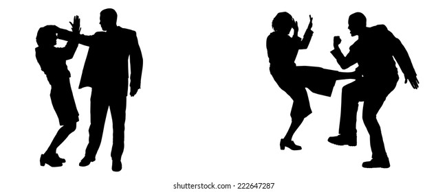 Vector silhouette of people who are arguing on a white background.
