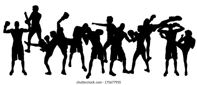 Vector silhouette of people who boxes on a white background.