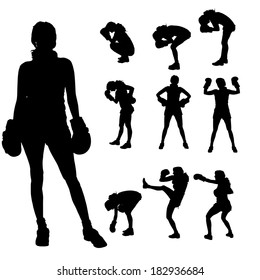 Vector silhouette of a people who boxes.
