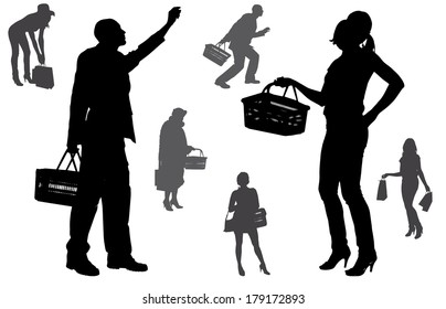 Vector silhouette of people who buy on a white background.