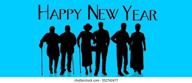 Vector silhouette of people who celebrate the new year.