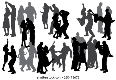 Vector silhouette of people who dance on a gray background.
