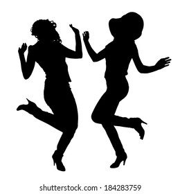 Vector silhouette of people who dance on a white background.