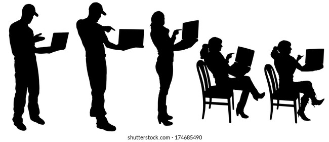 Vector silhouette with people who hold a show on the computer.