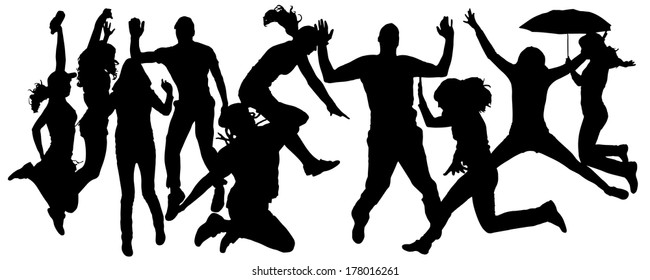 Vector silhouette of people who jump on a white background.