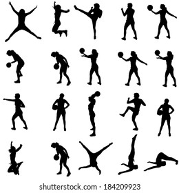 Vector silhouette of a people who practices on white background.
