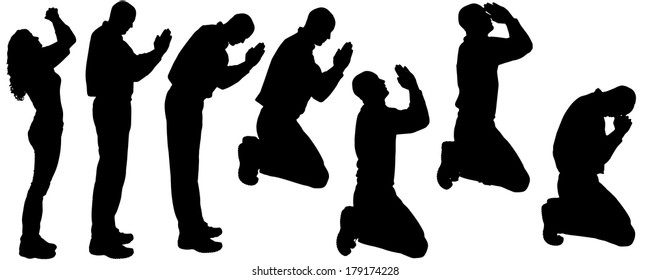 Vector silhouette of people who pray on a white background.