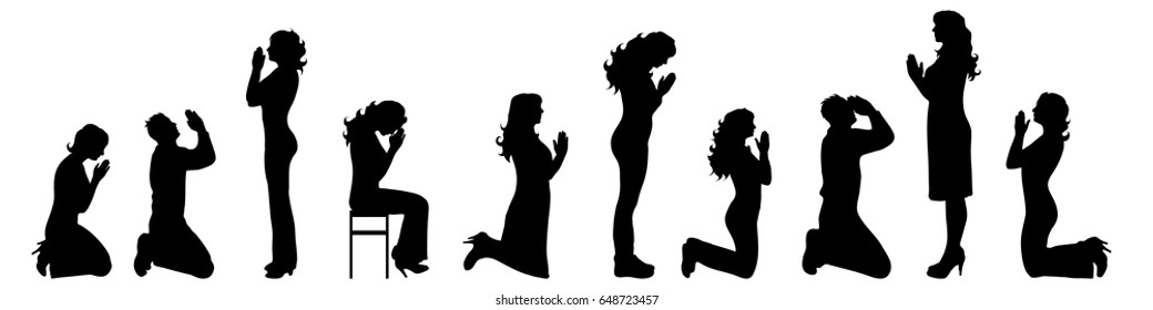 Vector silhouette of people who pray on white background.