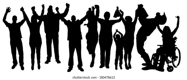 Vector silhouette of people who rejoice on a white background.