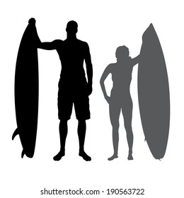 Vector silhouette of a people who surf.