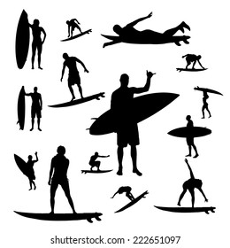 Vector silhouette of people who surf on a white background.