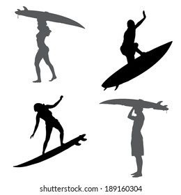 Vector silhouette of a people who surfs.