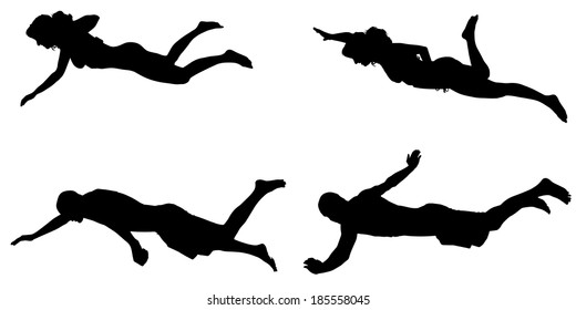 Vector silhouette of a people who swim on a white background.