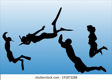 Vector silhouette of people who swim on a white background.