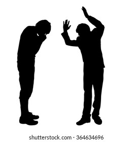Vector silhouette of people who were arguing.