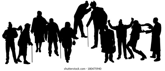 Vector silhouette of people in winter clothes on a white background.