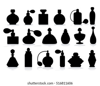 vector silhouette of perfume bottle with shadow on a white background