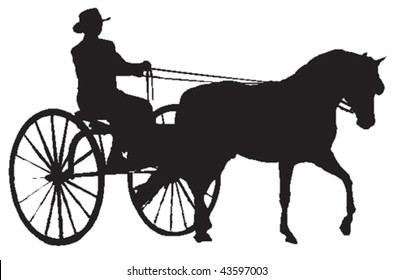 Vector silhouette of person sitting in a carriage pulled by a horse.