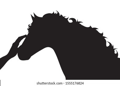 Vector silhouette of person who fondle his horse on white background. Symbol of animal, pet, care, love, save, vet, veterinary, farm.