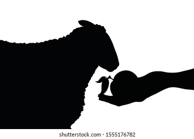 Vector silhouette of person who give food his sheep on white background. Symbol of animal, pet, eat, care, save, vet, veterinary, farm.