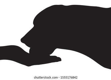 Vector silhouette of person who give food his dog on white background. Symbol of animal, pet, eat, care, save, vet, veterinary.