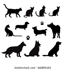 Vector silhouette of pet cats and dogs