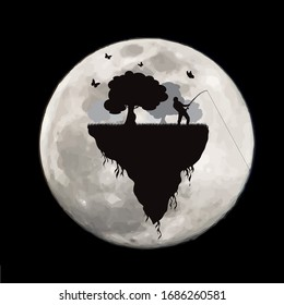 Vector silhouette of piece of land with fishing man and flying butterflies on moon background. Symbol of night.