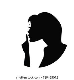 Vector silhouette of please quiet woman. Black iand white con.