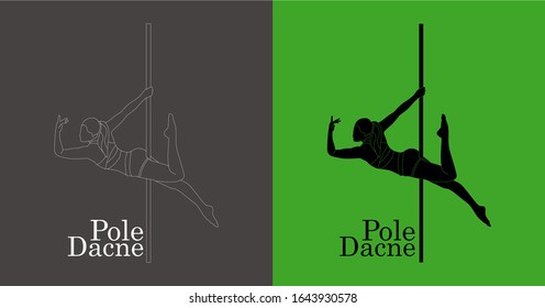 Vector, Silhouette of Pole dance isolation, Woman pole dance in the vector design, Pole dance illustration for fitness, striptease dancers, exotic dance with line art drawing, Cambodia