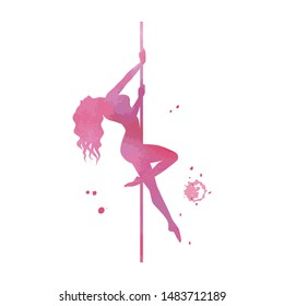 Vector silhouette pole dance with watercolor texture on a white background. Hand sketch exotic dance vector illustration. Pink isolated clipart for logotype, badge, icon, logo, banner, tag, clothes
