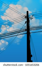 VECTOR - silhouette of pole with many cable on blue sky background.