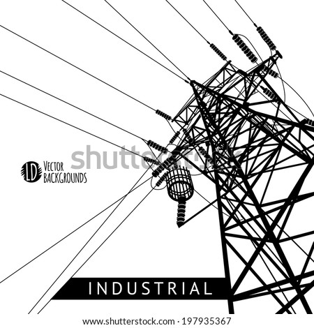 Vector Silhouette Power Lines Electric Pylons Stock Vector Royalty