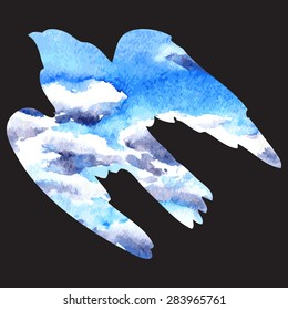 vector silhouette of a predatory bird drawing by watercolor,sky with clouds, carved in the shape , isolated hand drawn background