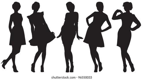 Vector silhouette of pretty women