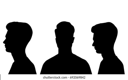 Vector silhouette profile and head teen, black color, isolated on white background
